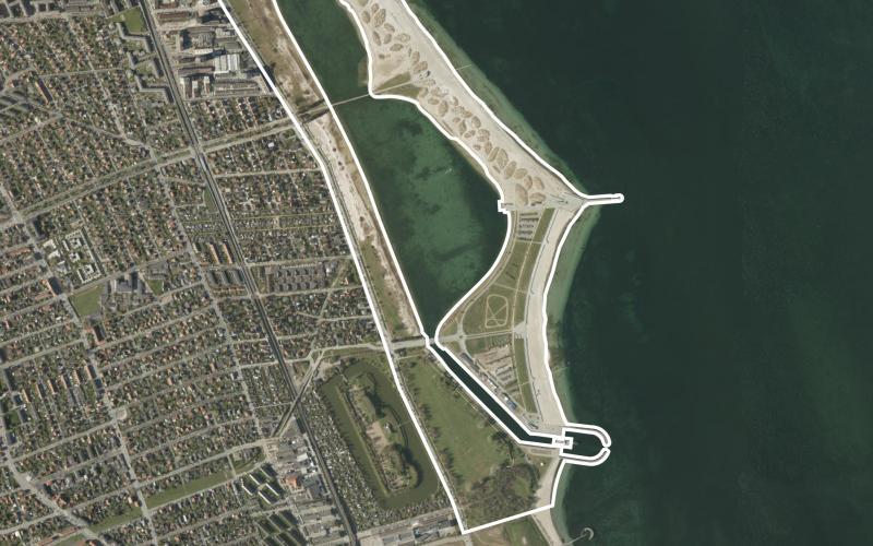 Luftfoto over lokalplanområdet Amager Strandpark
