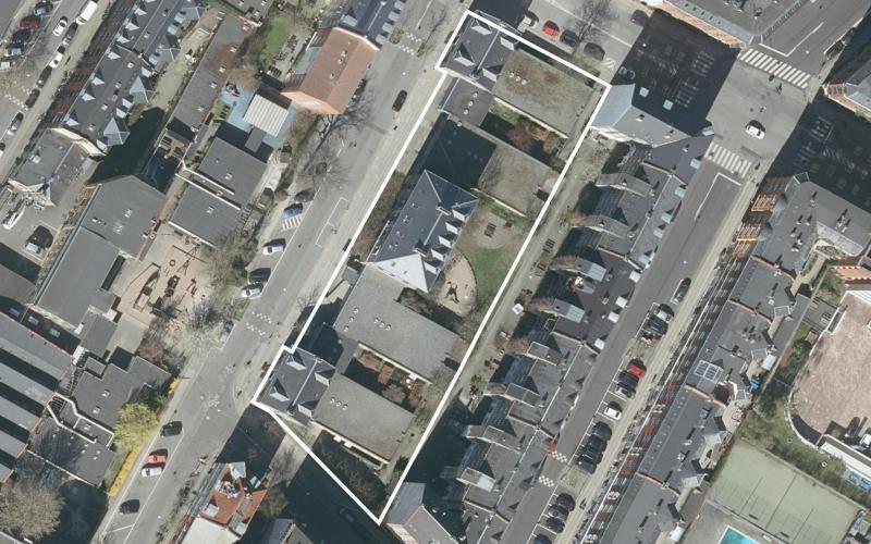 Luftfoto af lokalplanområdet Baldersgade 24