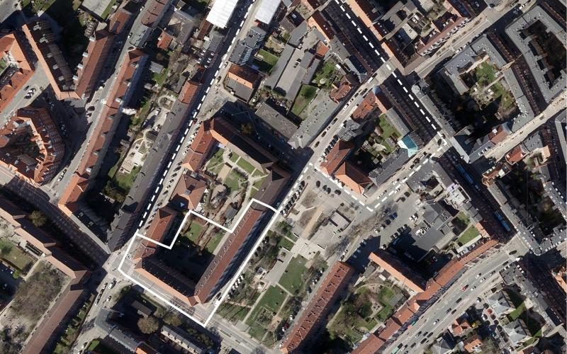 Luftfoto over lokalplanområdet Hemsedalsgade tillæg 1