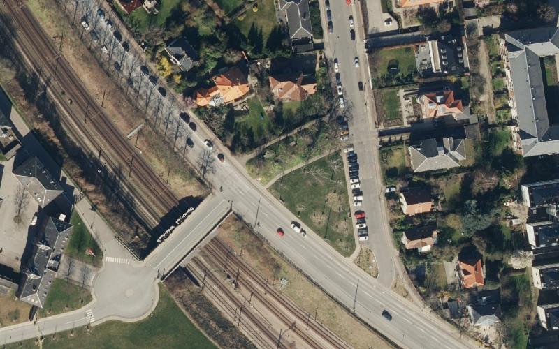 Luftfoto af Ryvangs Allé og Svanemøllevej