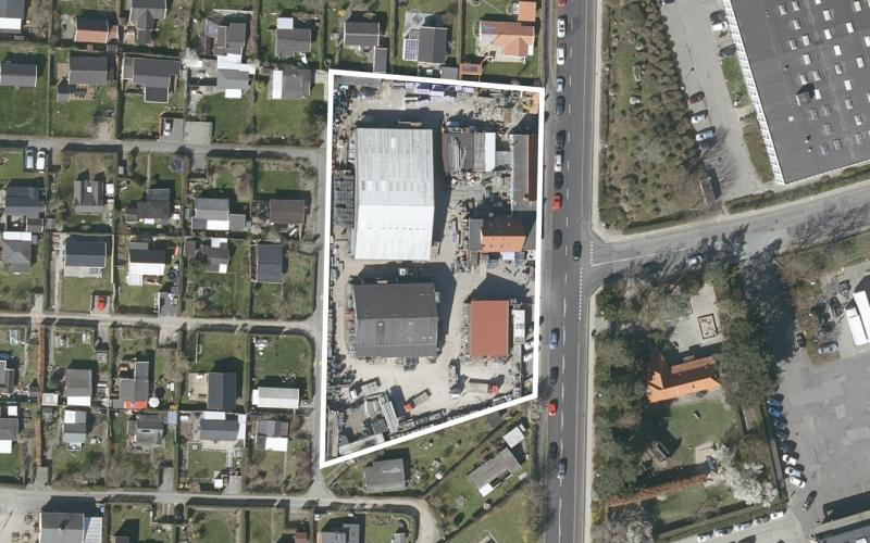 Luftfoto af lokalplanområdet Oliefabriksvej 100