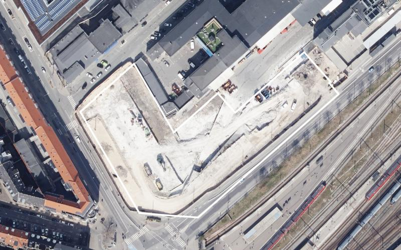 Luftfoto af lokalplanområdet Skole i Kødbyen