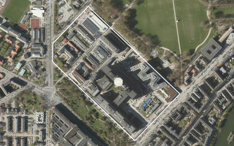 Luftfoto af lokalplanområdet Rigshospitalet tillæg 1