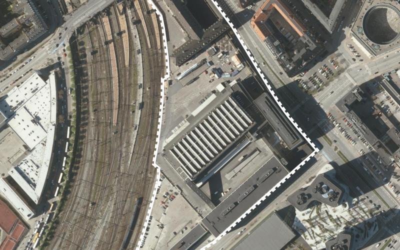 Luftfoto over lokalplanområdet Postgrunden tillæg 1