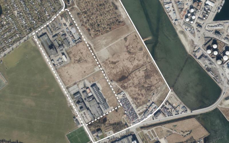 Luftfoto af lokalplanområdet ved Kløvermarken
