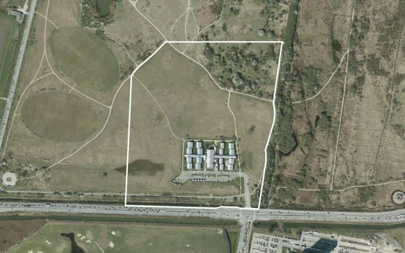Luftfoto af lokalplanområdet Vejlands Kvarter