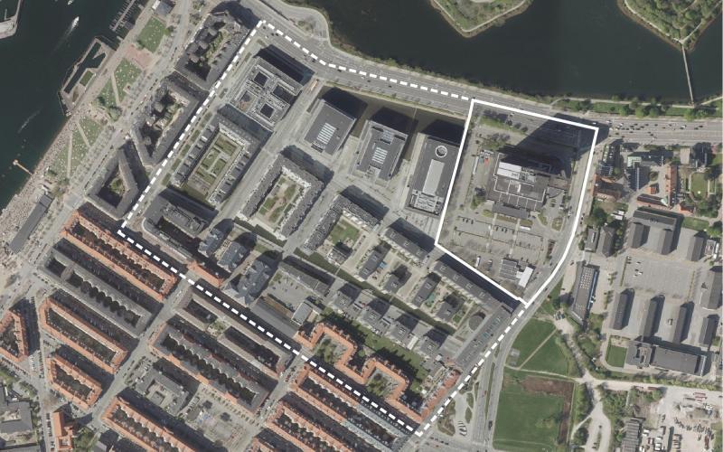 Luftfoto af lokalplanområdet Ny Tøjhus tillæg 4
