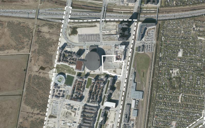 Luftfoto af lokalplanområdet Ørestad Syd tillæg 3
