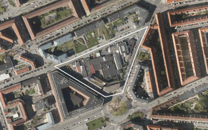 Luftfoto af lokalplanområdet ved Omøgade II