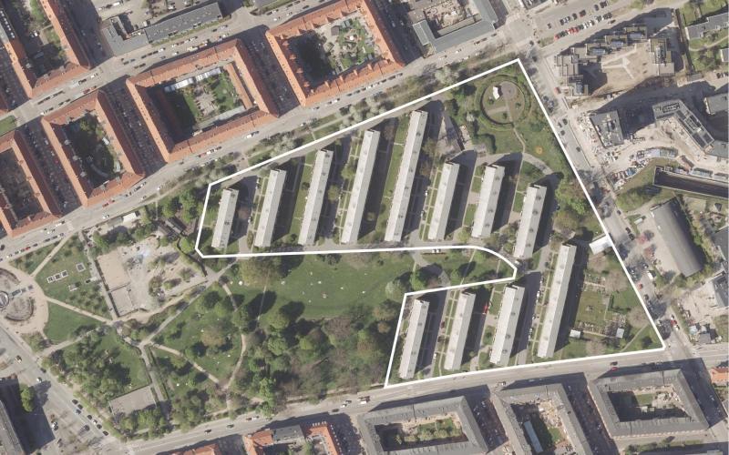 Luftfoto af lokalplanområdet Sundparken