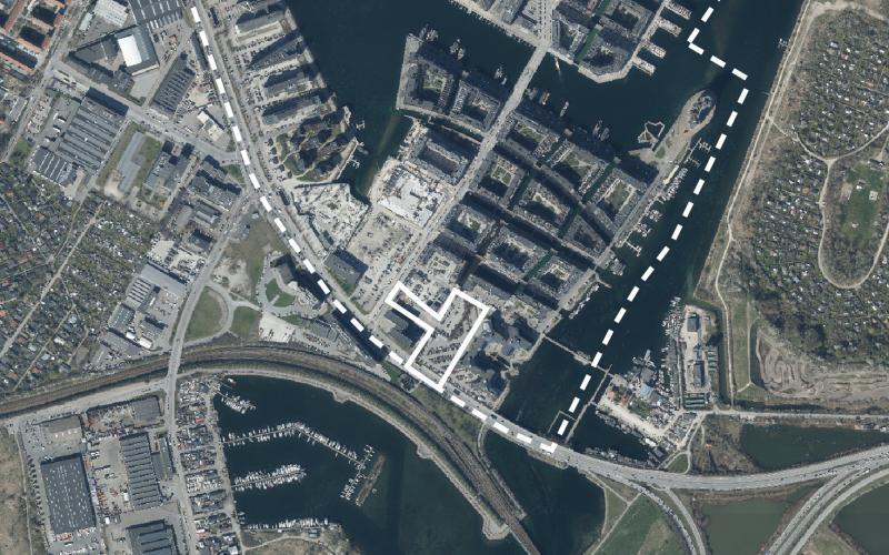 Luftfoto af lokalplanområdet Teglværkshavnen tillæg 11
