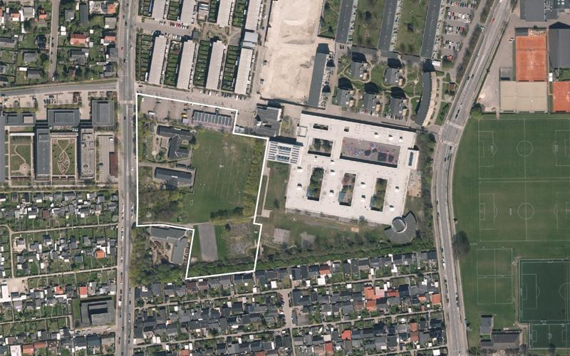 Luftfoto af lokalplanområdet ved Urbanplanen Syd