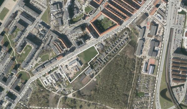 Luftfoto over lokalplanområdet Artillerivej Øst