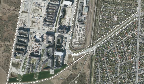Luftfoto over lokalplanområdet Ørestad Syd tillæg 4