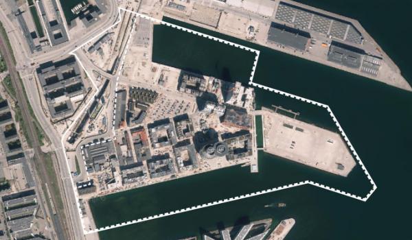 Foto af lokalplanområdet ved Århusgadekvarteret i Nordhavn
