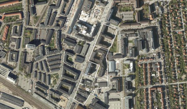 Luftfoto over lokalplanområdet Gammel Køge Landevej