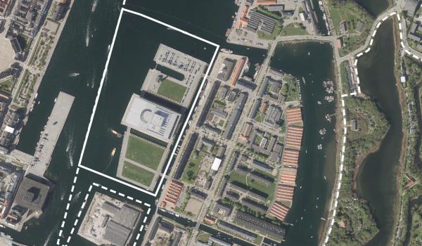 Luftfoto af lokalplanområdet Holmen II tillæg 5
