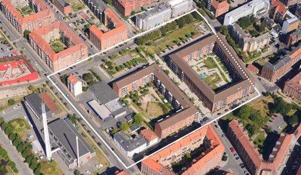 Luftfoto over lokalplanområdet Kornblomstvej II