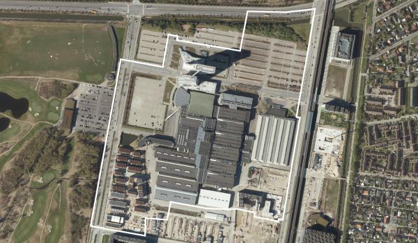 Luftfoto over lokalplanområdet Kvarteret ved Bella Center II