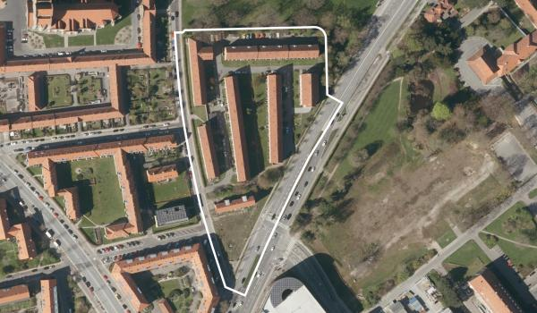 Luftfoto over lokalplanområdet Peter Rørdams Vej