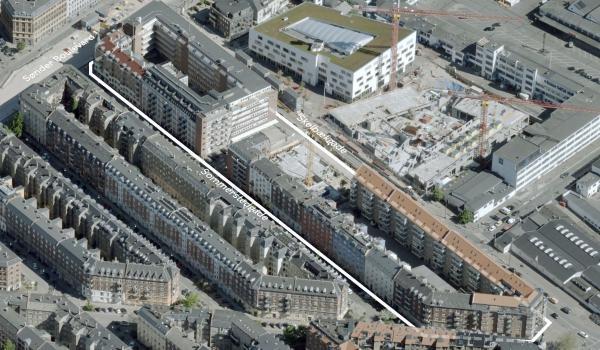 Skråfoto der viser reguleringsplanens område