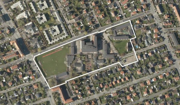Luftfoto over lokalplanområdet Skolen ved Sundet